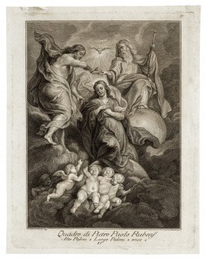 An Antique 18th Century Italian Engraving Print After Paul Rubens The Virgin Mary