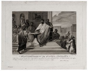 An 18th-19th Century Antique Etching Print Desinteressement De Quinctius Cincinnatus