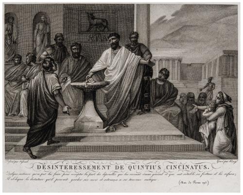An 18th-19th Century Antique Etching Print Desinteressement De Quinctius Cincinnatus