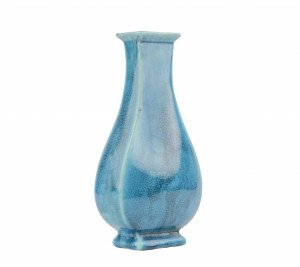 A Vintage Chinese Hu Form Chinese Turquoise Crackle Glaze Vase