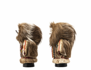 A Pair Of Caribou Fur Decorated Inuit Style Miniature Hand Made Figures