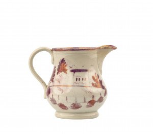 An Antique Lusterware Landscape Decorated Dairy Creamer