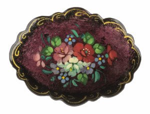A Vintage Maroon Ground Signed Russian Painted Lacquer Pin