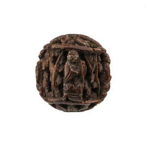 An Antique Edo Era Japanese Wooden Carved Immortal Decorated Ojime Bead