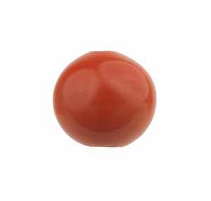 An Antique Meiji Period Japanese Faux Coral Pink Glass Ojime Bead
