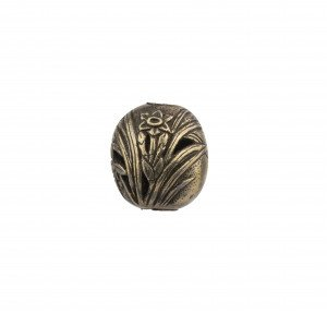An Antique Japanese Meiji Period Gilt Silver Decorated Cherry Blossom Ojime Bead