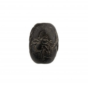 An Antique Japanese Edo Era Spider Signed Wooden Carved Ojime Bead