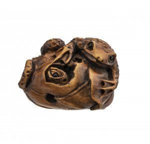 A Japanese Wooden Carved Signed Toad Group Ojime