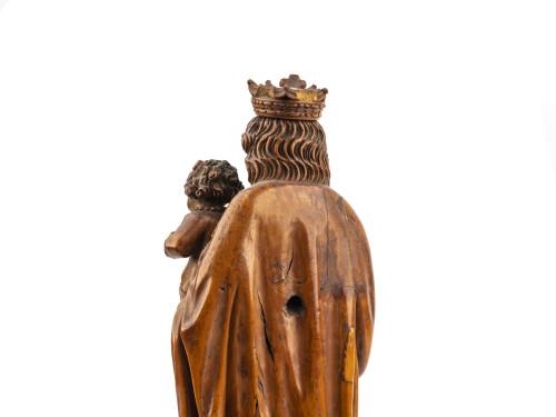 A 17th Century European Antique Boxwood Sculpture Of Madonna & Child
