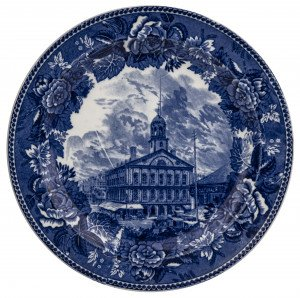 An Antique Wedgwood Etruria Faneuil Hall Historic Blue Transferware Dish