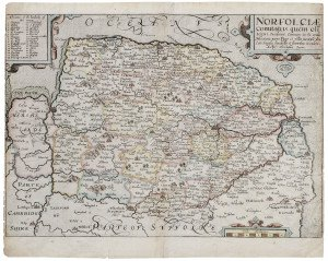 An Antique Map Of Norfolk England 1637 Norfolciae Comitatus By Christophore Saxton