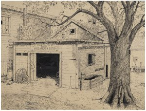 "An Antique 1924 Illustration Art Drawing Under The Spreading Chestnut Tree ""The Village Smithy Stands"""