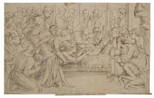 An Antique Etching Dated 1784 Raffaelle Urbinus Gezeignet By Heinrich Sintzenich The Death of Raphael