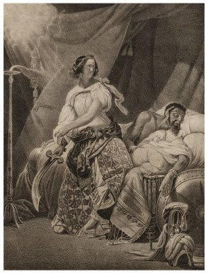 An Antique German Engraving Judith Und Holophernes By H. Menzler