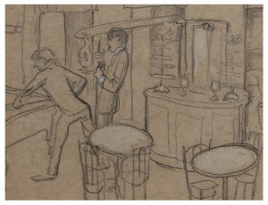 An Vintage Expressionist Bar Scene Drawing Signed & Attributed to Aad de Haas