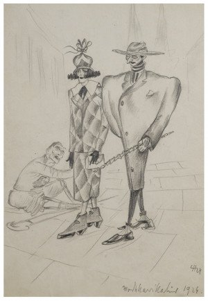 "A Vintage German Expressionist Drawing Dated 1929 ""The Elite Above The Poor"""
