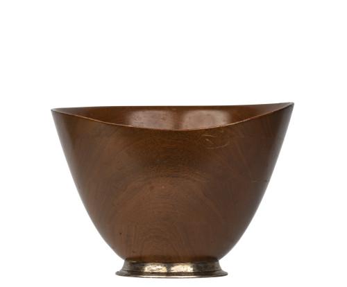 A Large Vintage Signed Sterling Silver & Mahogany Danish Modern Form Salad Bowl