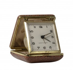 A Vintage Lizard Skin Embossed Westclox Travel Clock