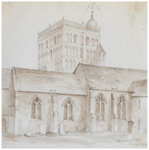 An Antique 18th-19th Century British Architectural Drawing Clementi Church Kent
