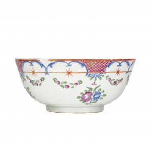 An Antique Chinese Export Famille Rose Punch Bowl