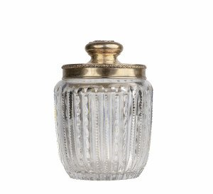 An Antique Sterling Silver Mounted Cut Glass Powder Jar