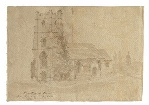 An Antique British School Drawing Clyffe Pypard Church 1844