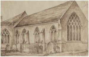 An Antique British School Drawing Memory Of Northfleet Church 1841