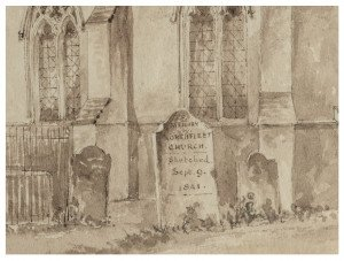 An Antique British School Drawing Memory Of Northfleet Church 1841