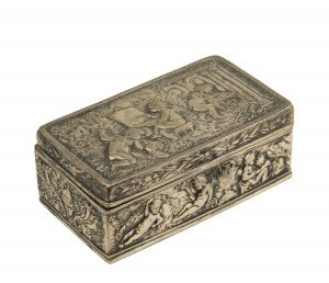 An Antique German Silver Putto's In The Garden Themed Table Box