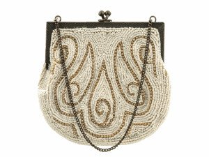 An Antique Beaded White Ground Purse