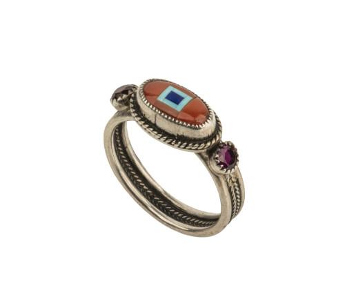 A Vintage Navajo Silver Mounted Carnelian, Turquoise, Lapis, & Garnet Mounted Ring Size 5.5