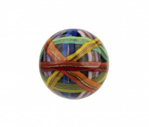 A Large Contemporary Glass Copper Sparkle Multi Band Decorated Bead