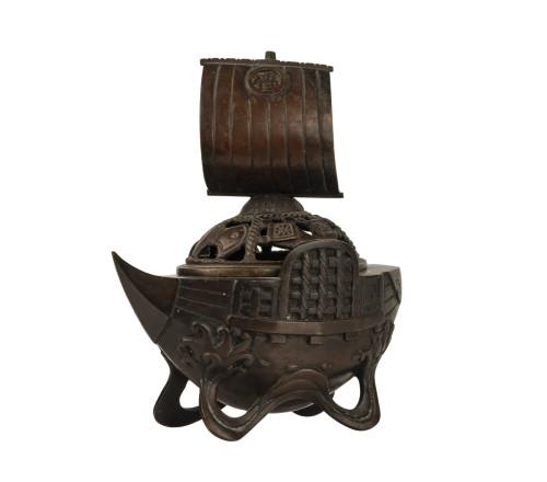 A Vintage Japanese Patinated Bronze Ship Incense Burner