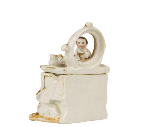 A 19th Century Victorian Staffordshire English Porcelain Fairing Trinket Box Girl Peeking Through The Mirror