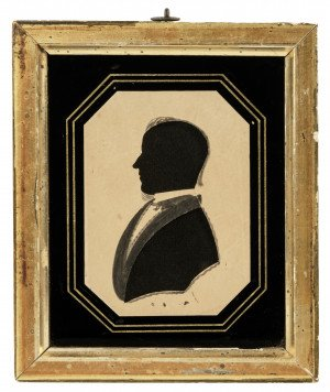 An Antique Early 19th Century Silhouette Painting Portrait Miniature Of A Gentleman's Profile