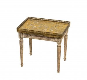 A Vintage Diminutive French Marble Top Louis XVI Style Coffee Table