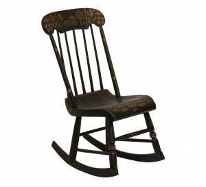 An Antique Folk Art Tole Scene Painted Ebonized Rocking Chair
