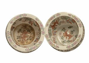 A Pair of Vintage Chinese Famille Rose Dragon Phoenix Decorated Porcelain Fish Bowls