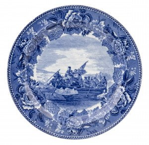 An Antique Washington Crossing The Delaware Wedgwood Etruria England Historical Blue Staffordshire Cabinet China Plate