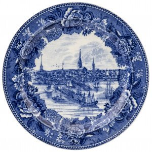 An Antique Boston in 1768 Wedgwood Etruria England Historical Blue Staffordshire China Cabinet  Plate
