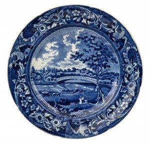 An Antique Historical Blue Staffordshire China Upper Ferry Bridge Schuylkill River Cabinet Plate