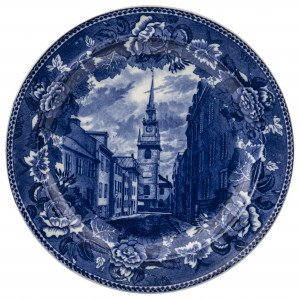 An Antique Old North Church Salem SI Wedgwood Etruria England Historical Blue Staffordshire Cabinet Plate