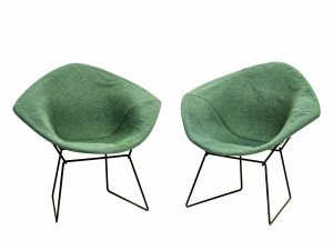 A Pair of Vintage Knoll Harry Bertoia Diamond Chairs