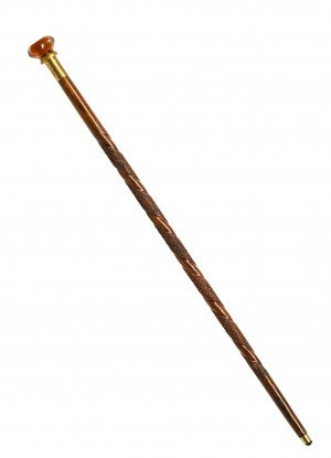 An Antique American Tramp Art Style Carved Amber Glass Mounted Walking Stick Cane