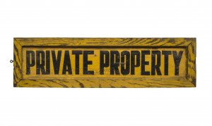 A Vintage American Yellow Painted Private Property Painted Trade Sign