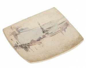 A Vintage Contemporary Abstract Cityscape Decorated Art Pottery Dish