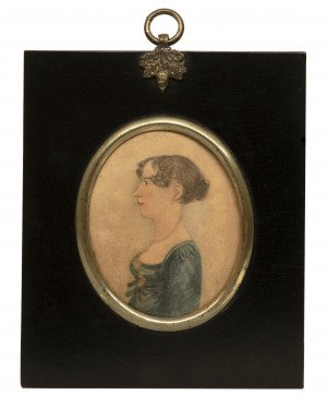 An Early 19th Century American Folk Art Portrait Of A Lady