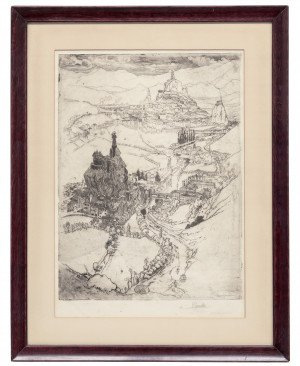 An Antique Framed Etching by Joseph Pennell Le Puy 1894