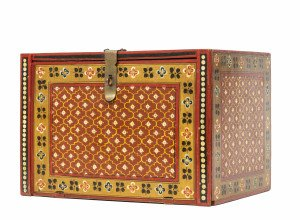 A Vintage Indian Red Ground Decorated Jewelry Curio Chest