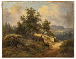 An Antique Landscape Oil Painting By Fredrick Otto Georgi 1819-1874